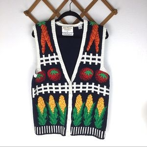 Vintage Hand Knit Sweater Vest Farm Vegetable